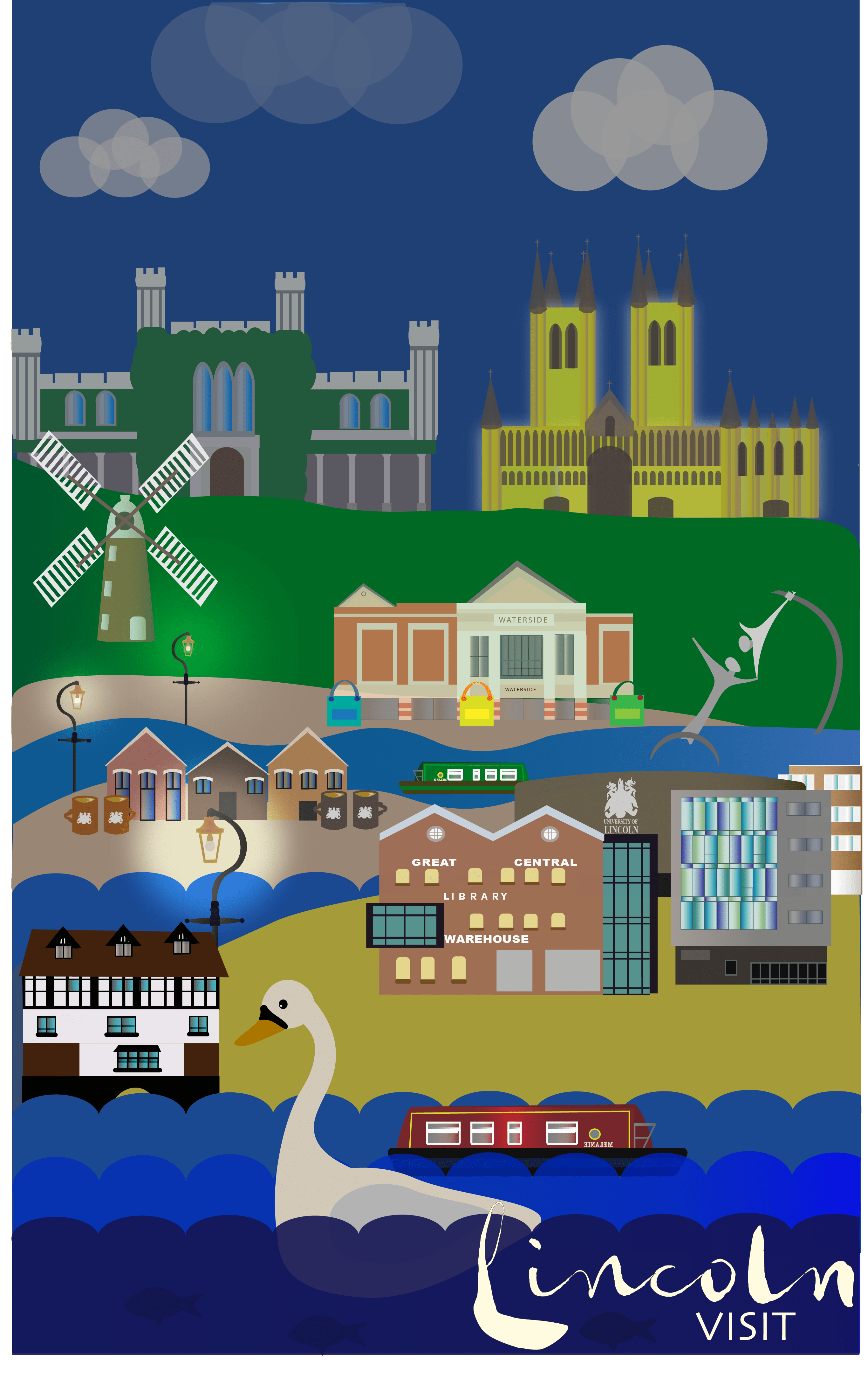 Illustration. A poster composed of minimalist illustrations of Lincoln landmarks at night, illuminated by street lights, text at the bottoms reads: