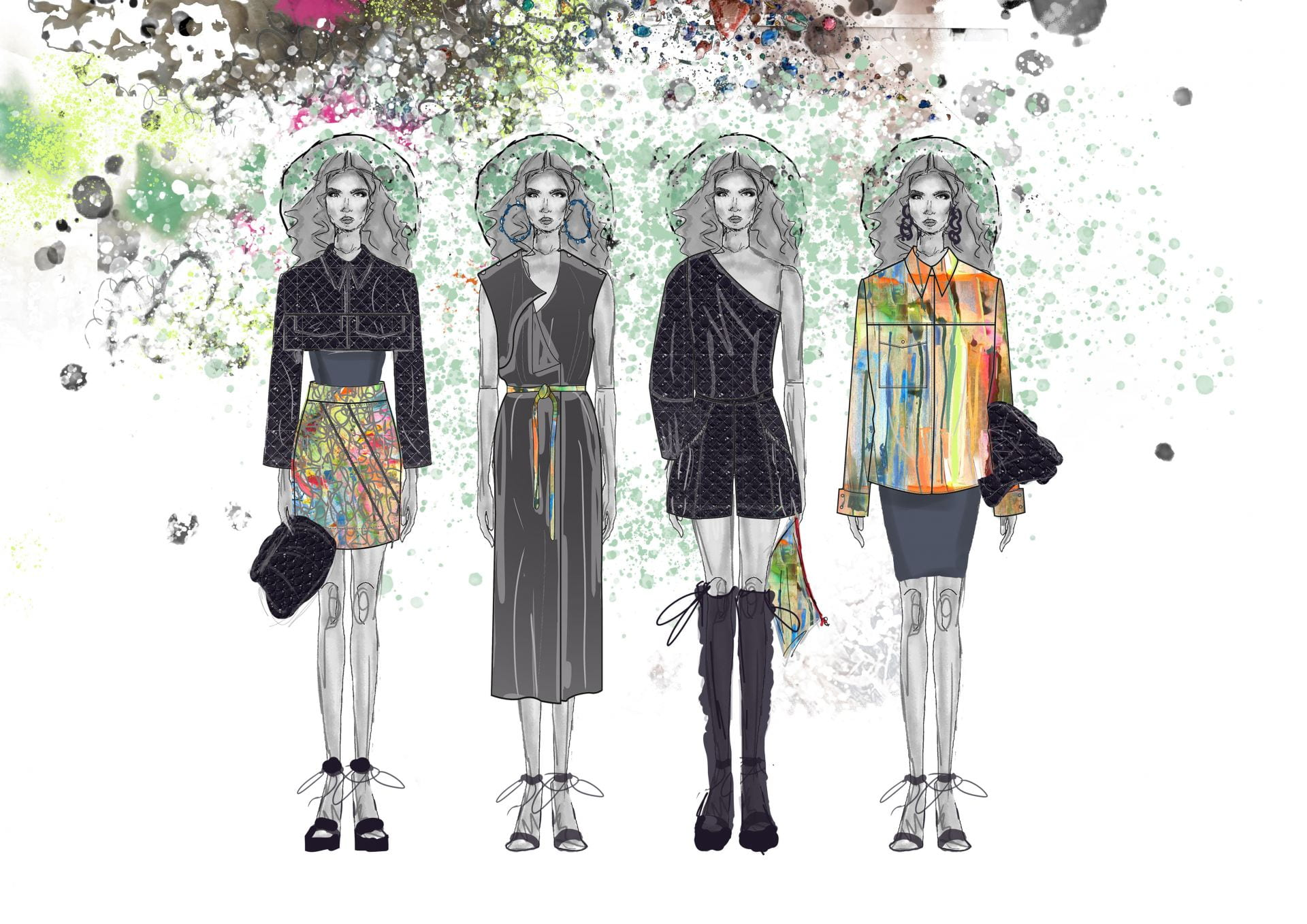 Illustration of models in various garment designs.