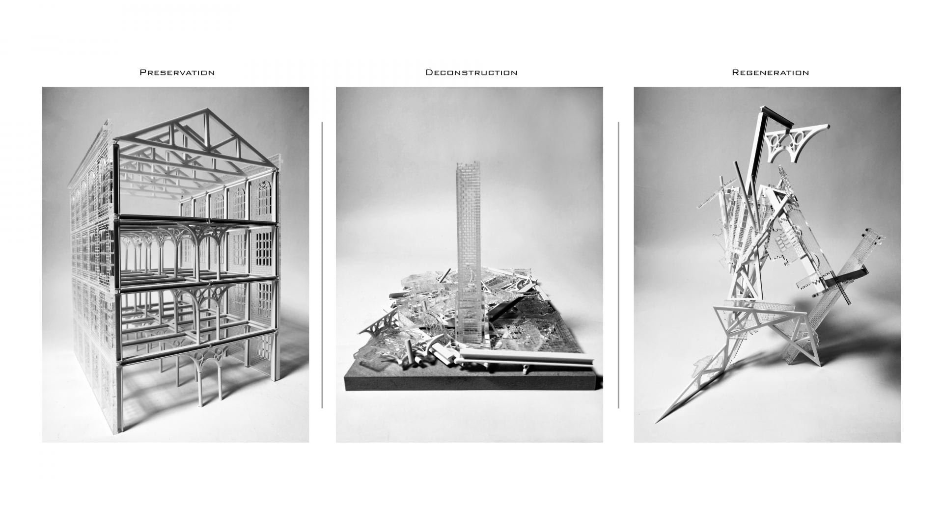 Photos of model series exploring a transformation narrative.
