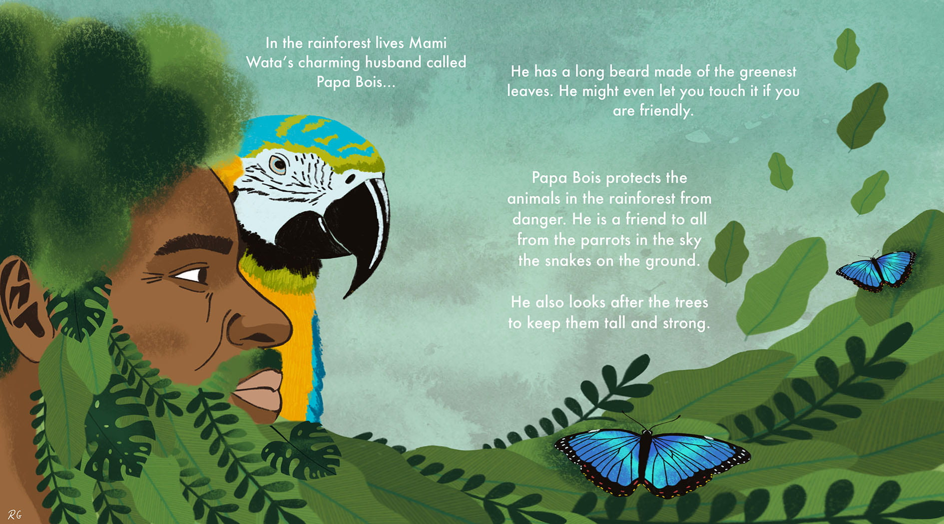 Digital image of a double page spread showing the side profile of a character and a parrot.