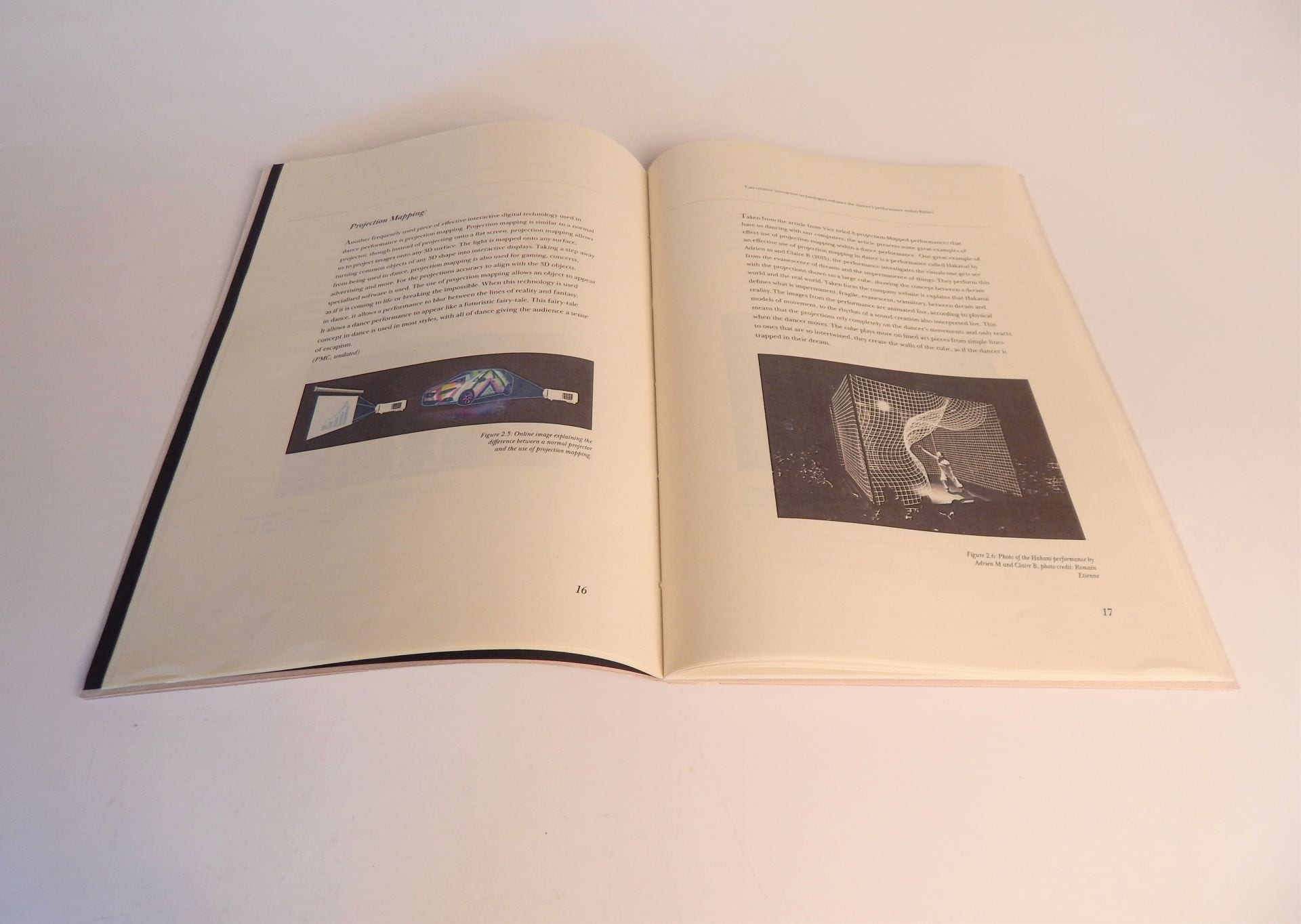 Dissertation paper open at chapter on 'Projection Mapping'.
