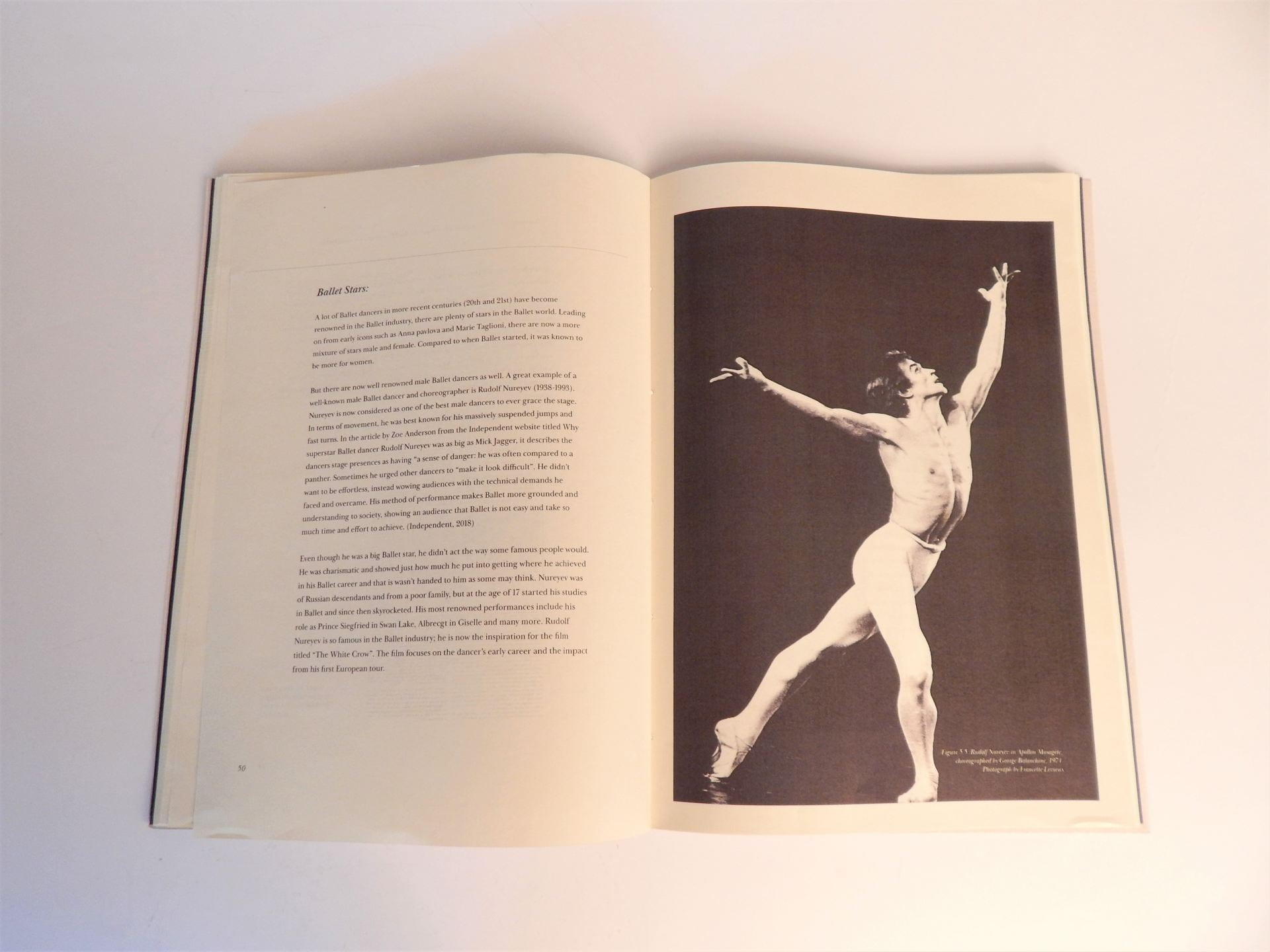 Dissertation paper open at chapter on 'Ballet Stars' with black and white photograph of male ballet dancer.