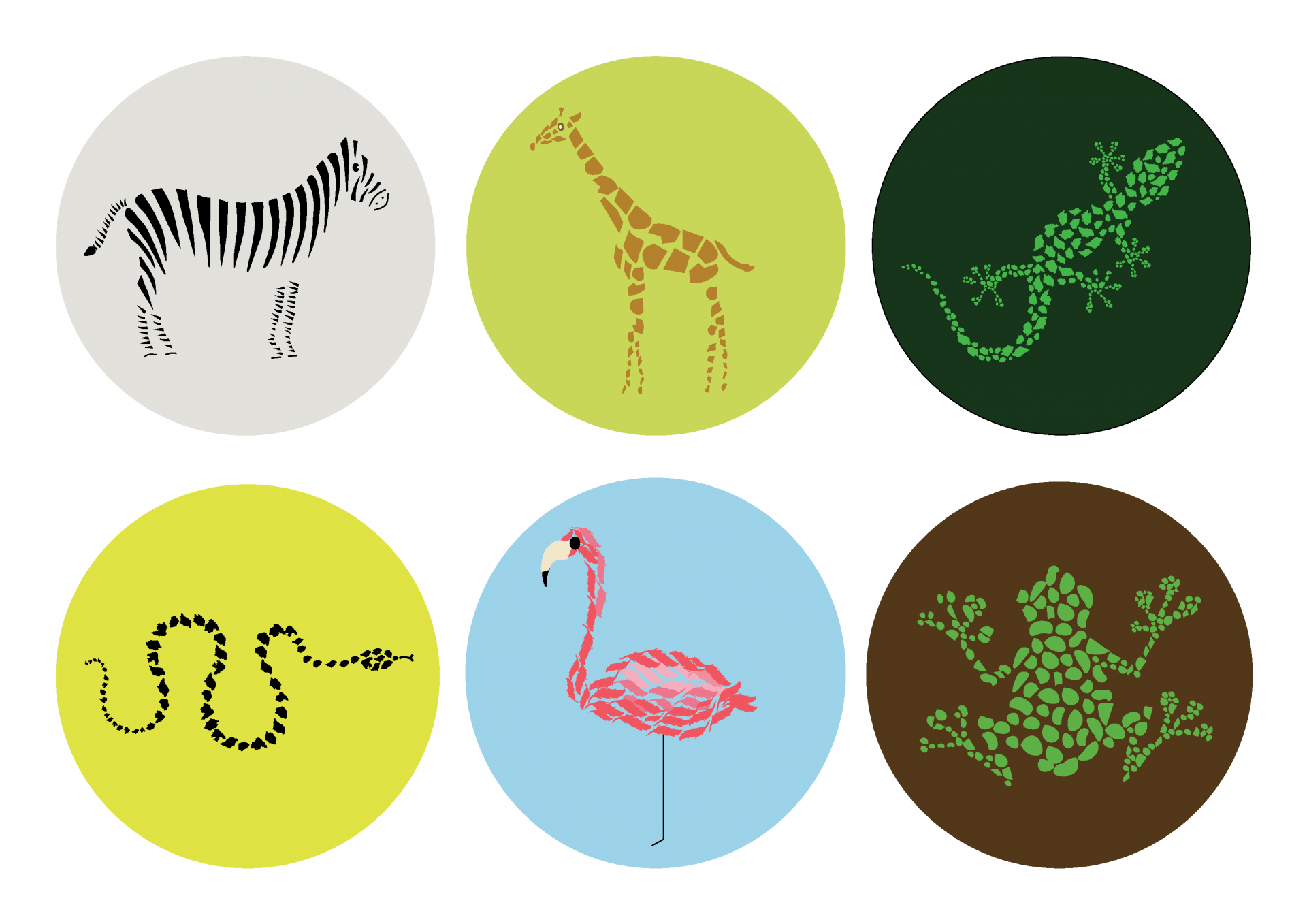 Digital illustration. A variety of animals created using smaller shapes, each in a circle of a different colour.