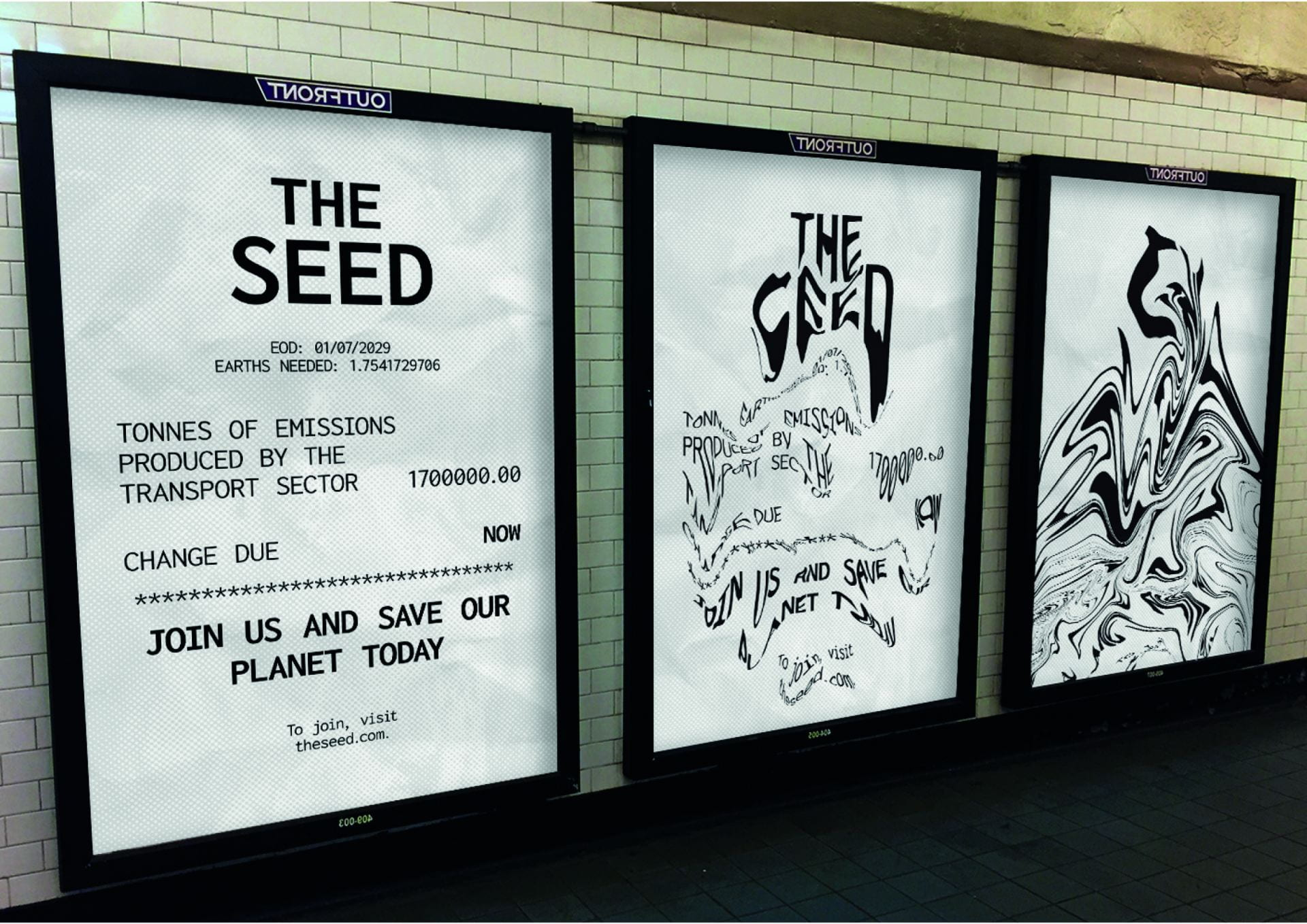 Posters: As you walk past, it portrays the gradual destruction of the planet due to the CO2 levels.