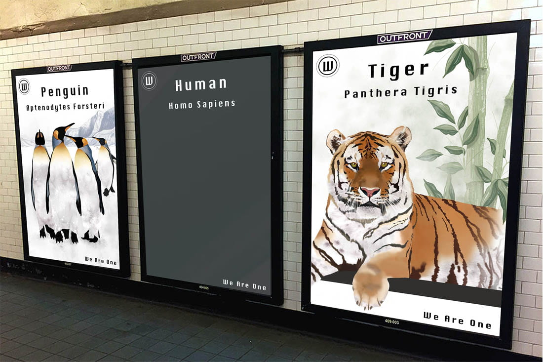 Image of posters in advertising mockup (subway station)