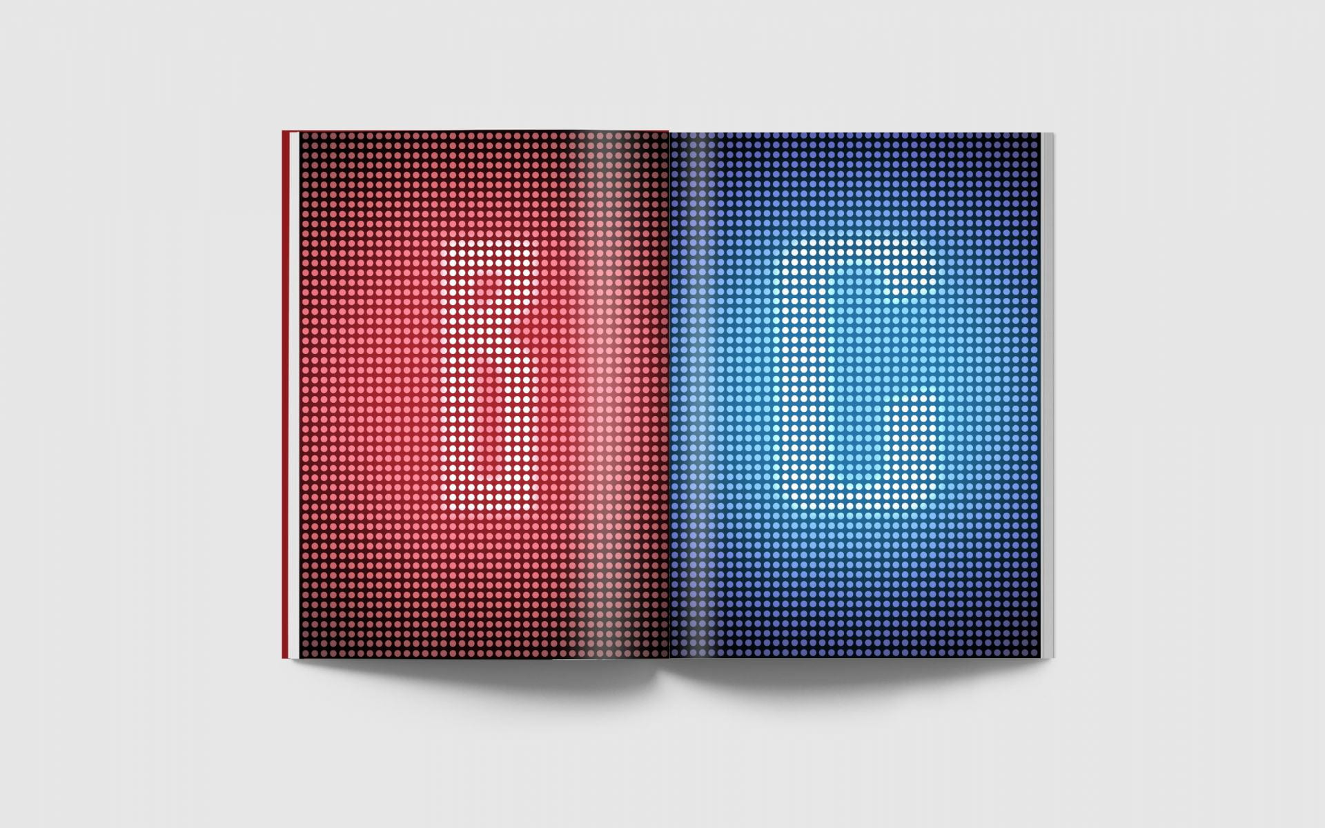 Two magazine pages, one with the letter 'B' on a neon-red background, the other with the letter 'C' against neon-blue.