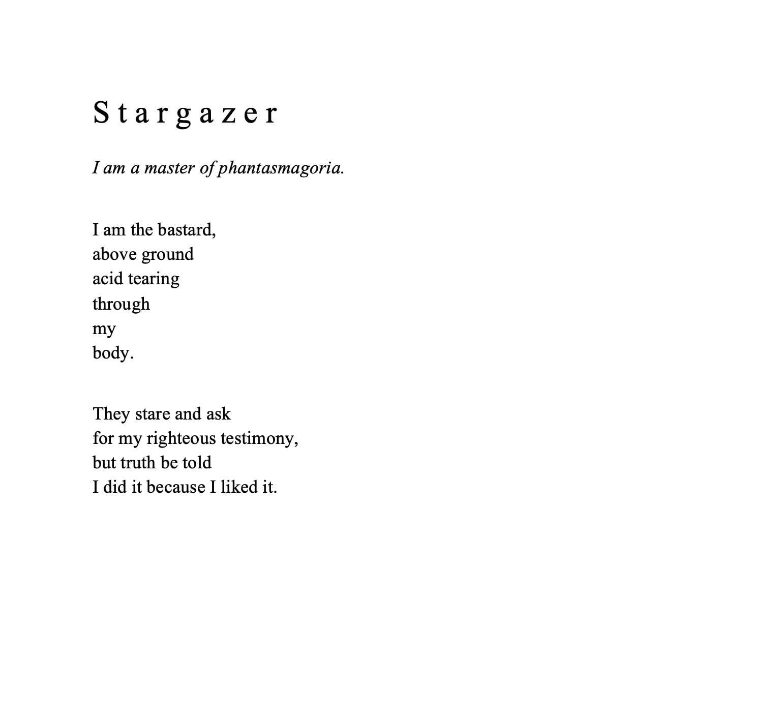 Poem titled 'Stargazer'.
