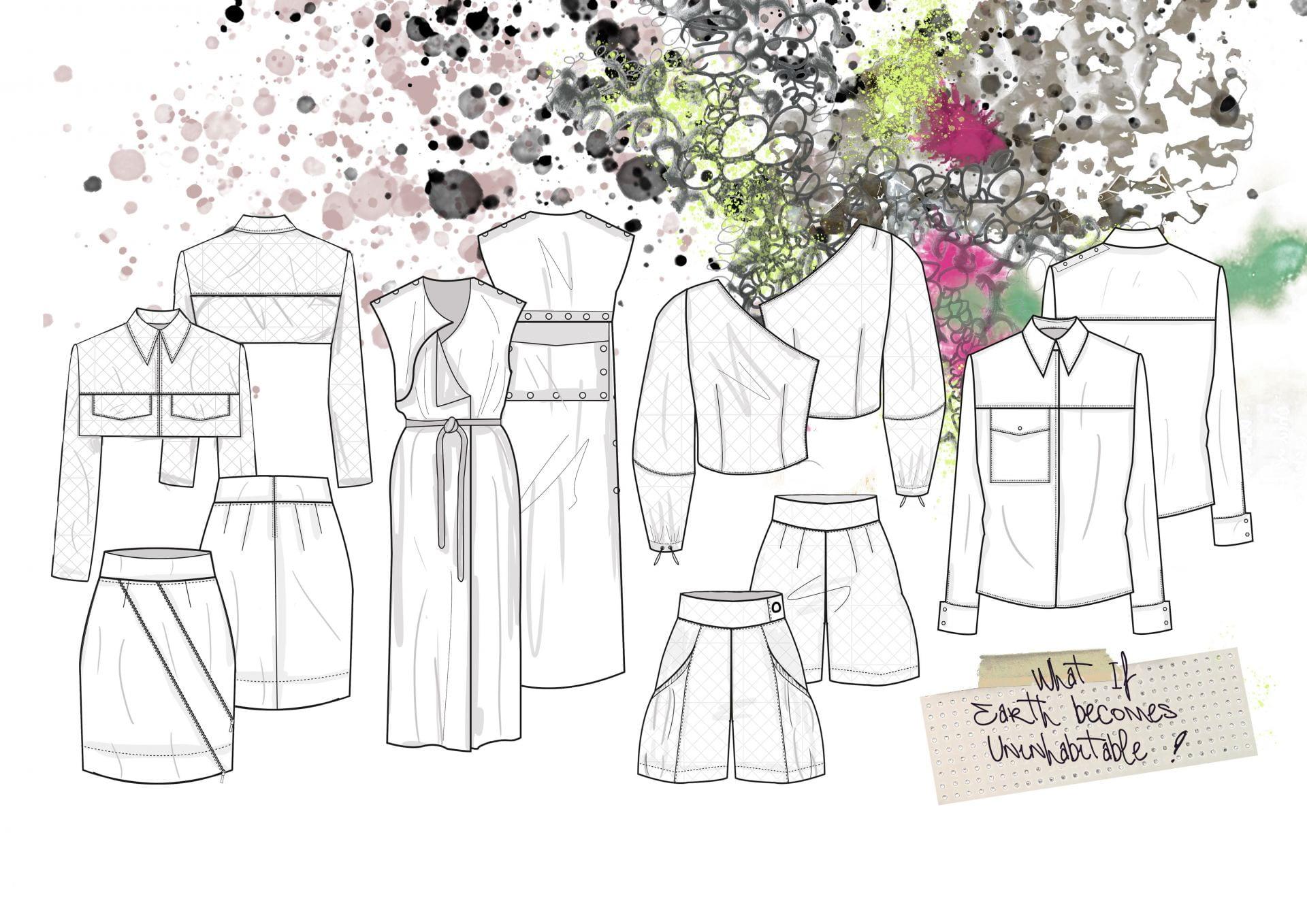 Series of garment designs.