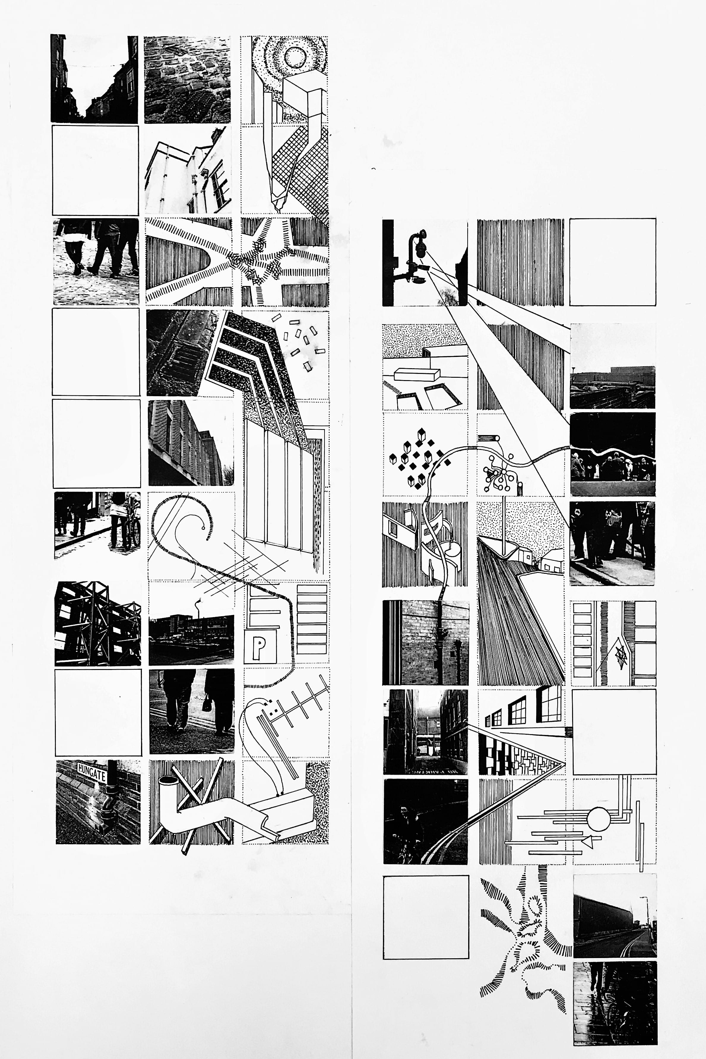 A collection of black and white illustrations, maps photographs from around a city.