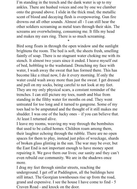 The first page of a piece I wrote for a module in first year, combining a fictional character with a real historical event.