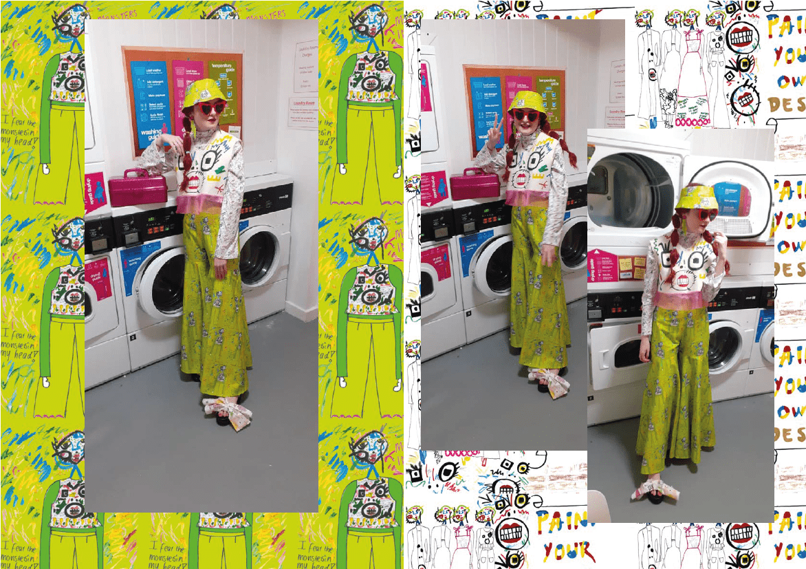 A model posing in white and yellow garments, image surround is illustrations of the garment designs.Look 4 DOOM, all of the prints generated for this collection are named after how I used to feel when sewing and pattern cutting, they visually document my struggle.