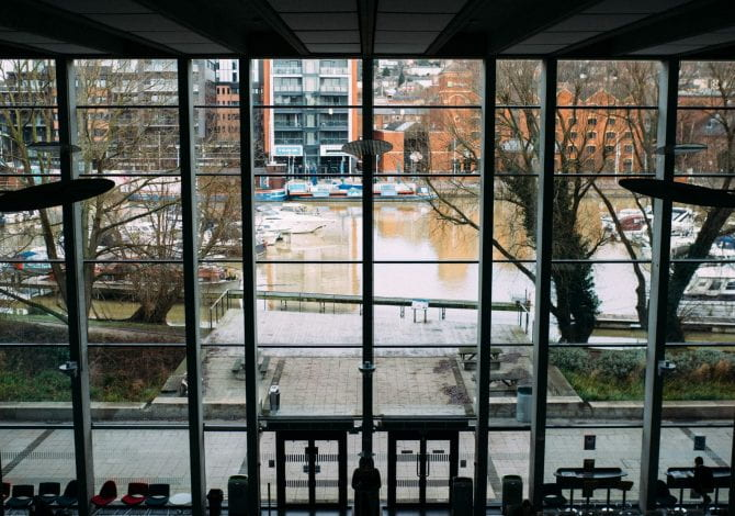 Student Services - High angle of the Minerva building at the University of Lincoln looking out over Brayford Wharf..