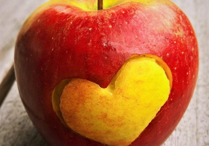 Student Services - A red apple on a bench with a heart shape cur out of it.