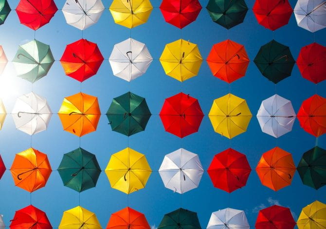 Student Services - Multi-coloured umbrellas.