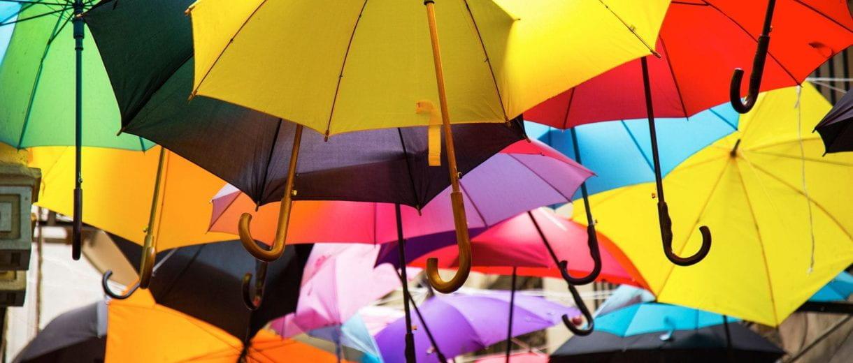 Student Services - Multi-coloured umbrellas