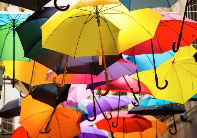 Student Services - Multi-coloured umbrellas