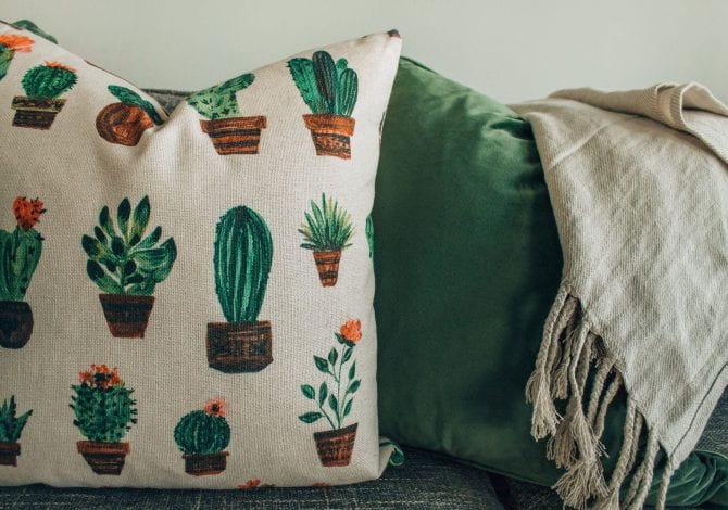 Student Services - Cushions sat on a sofa, one green the other with a cactus pattern.