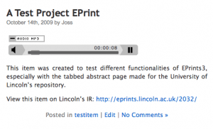 Podcasting from Eprints in WordPress