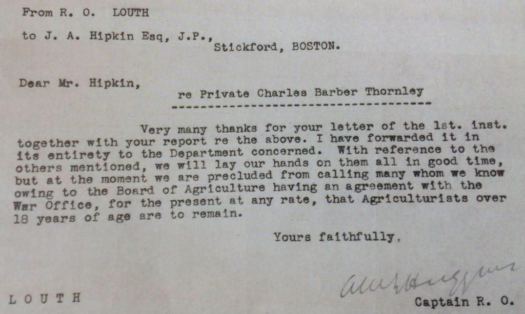 Type written letter