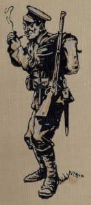 FWW soldier smoking pipe