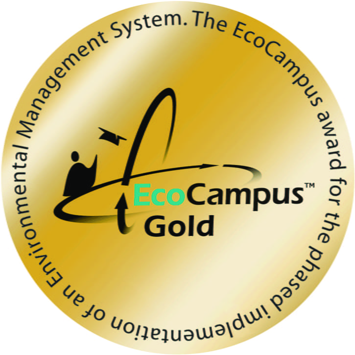 Image of a gold circle with a small person and arrows around text reading: EcoCampus Gold