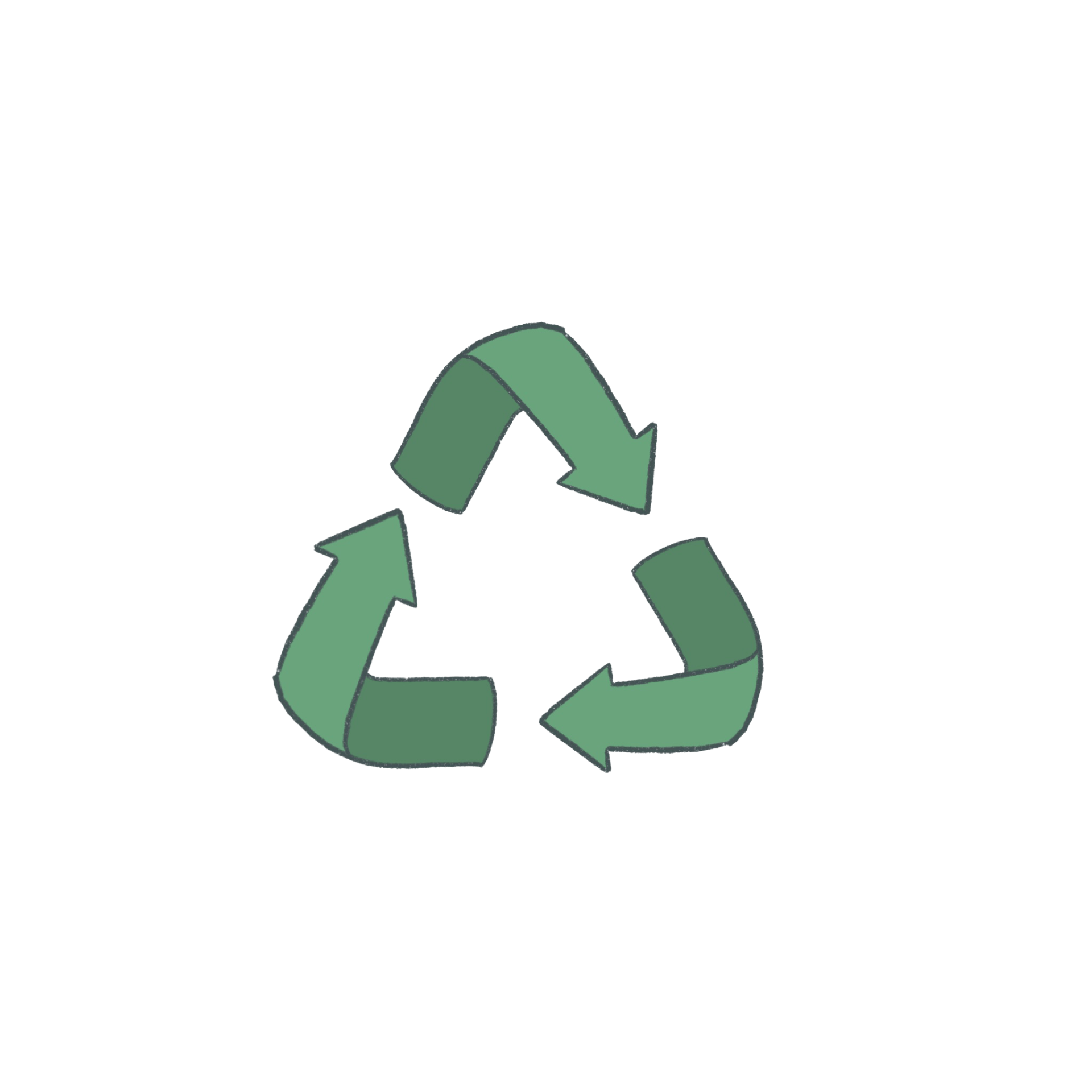 Image of a recycling logo, three green arrows in the shape of a triangle