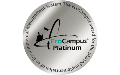 Image of the EcoCampus logo, a silver circle with the words EcoCampus Platinum in the centre
