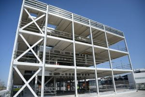 Image of a steel frame of a building