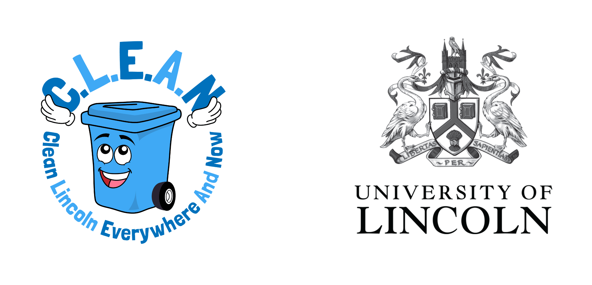 """Two logos side by side, one is a blue bin holding the letters """"C.L.E.A.N"""" and smiling, the words """"clean Lincoln Everywhere And Now"""" are below. The other is an elaborate swan crest with the """"University of Lincoln"""" typed below."""