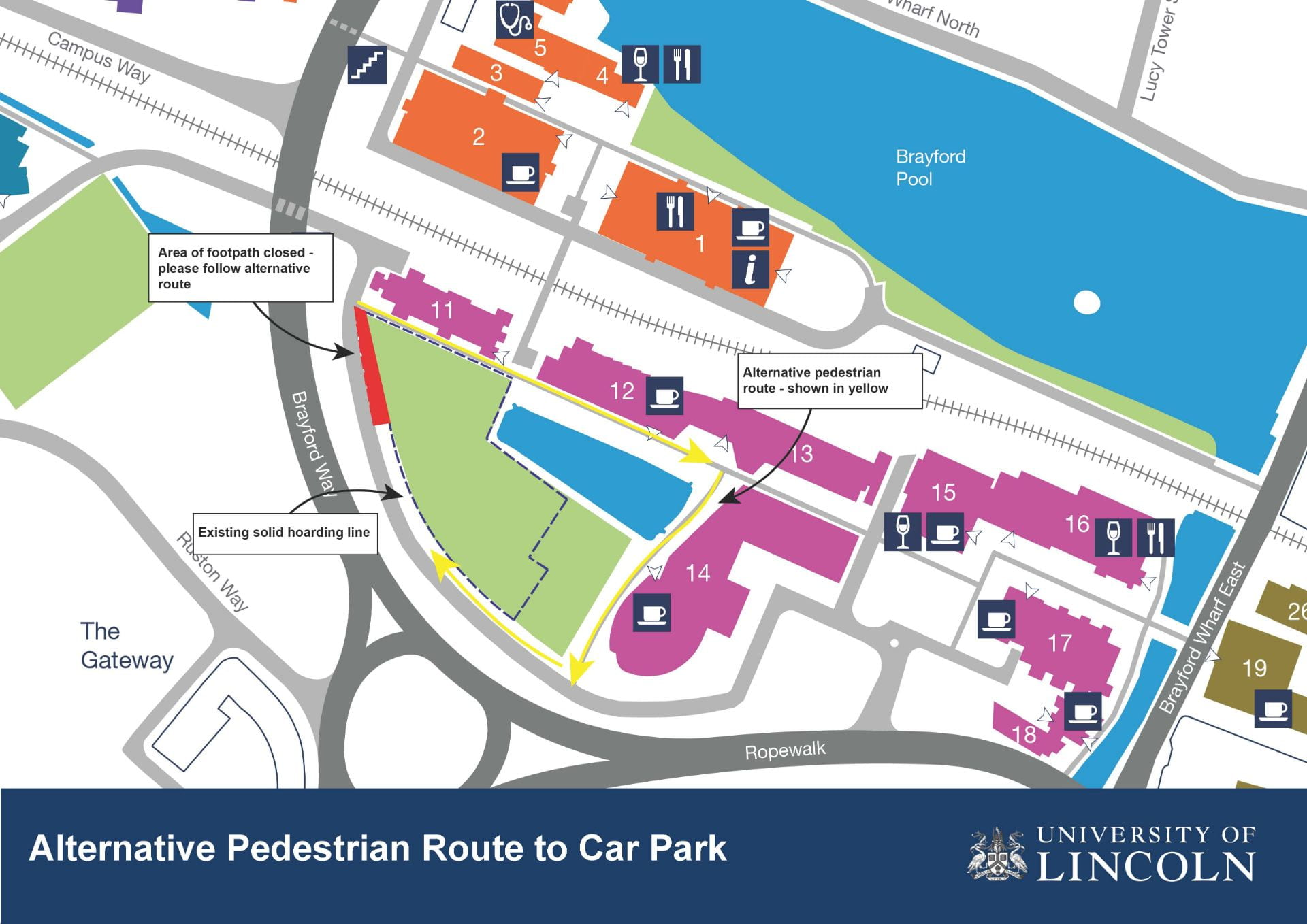 Image of a campus map with a highlighted route around the delph pond. A small section of the car park near to the Janet Lane-Claypon building is in red.