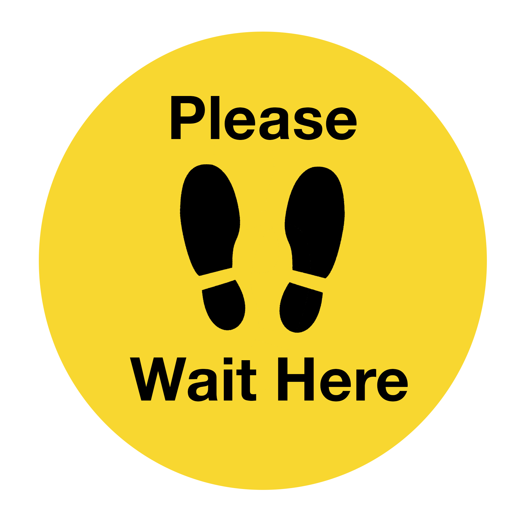 """Image of a yellow circle with black footprints inside and words reading """"please wait here"""""""