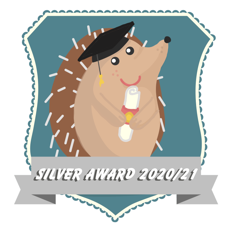 Image of a hedgehog illustration on a blue shield wearing a graduation cap. A banner of text reads: Silver Award 2020/21