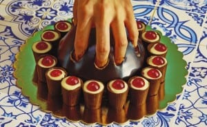 Hand in cake