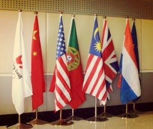 Flags that represent different nations, and this is globalisation.