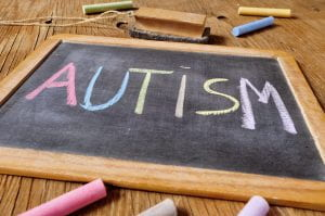 word autism written in a chalkboard