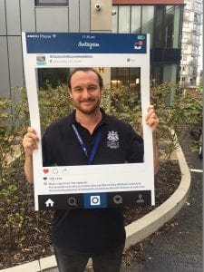 Selfie frame photo of a member of the Accommodation Team on campus on move in weekend in 2018.