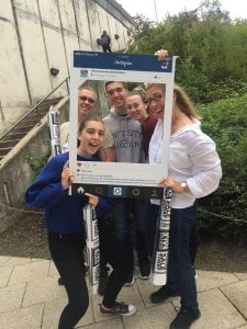 Selfie frame photos of new students arriving on campus on move in weekend in 2018.