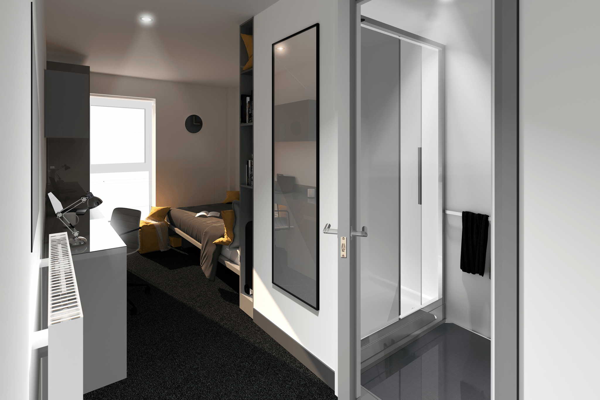 Architects Impression of 179 High Street Bedroom with a focus on the en-suite door but can see the bed in the background.