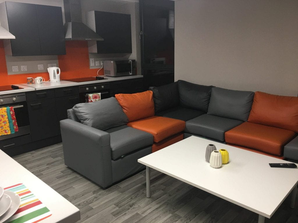 An example Gateway cluster kitchen with a focus on the modular sofa seating.