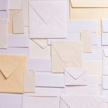 Decorative image of lots of envelopes.