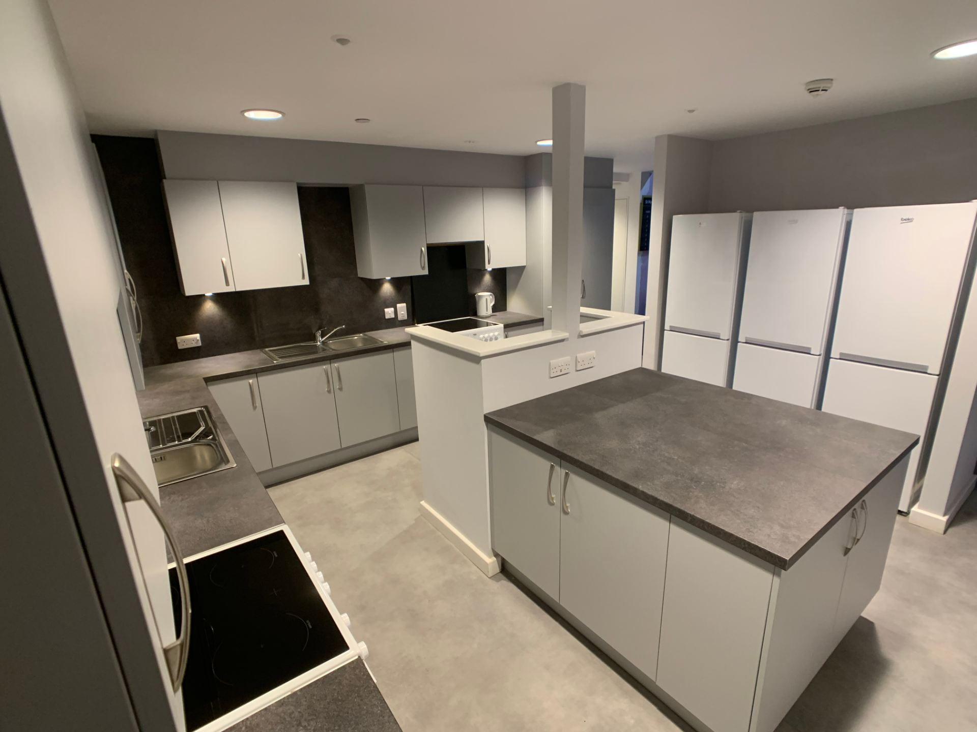St. Marks Student Village example kitchen - including units, fridge freezer and cooker.