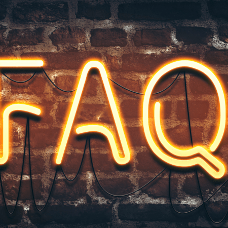 Neon Sign, which reads F.A.Q.'s