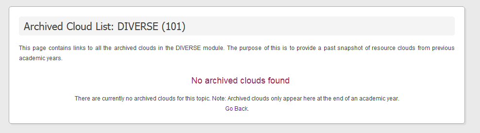Archived cloud list view