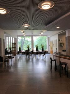 An image of the Harald Herlin Learning Centre room with a large featuring a window at the back with plants on the window ledge