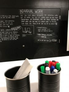 Image of a blackboard with pens below