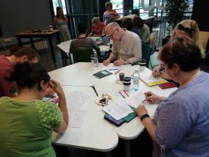 Image of a group of people around a table doing a cognitive mapping activity