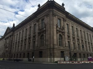 The state library, a four-story stone building