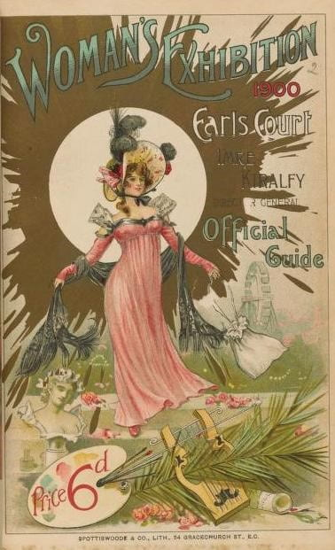 Exhibition guide cover showing a woman in a pink dress standing against a gold background