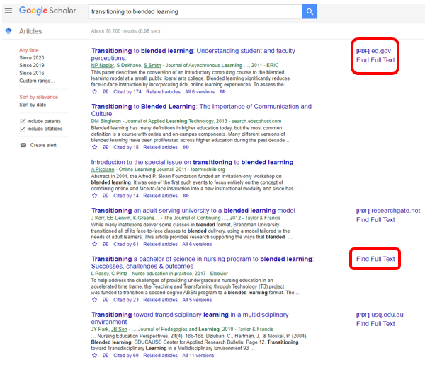 "Google Scholar search results with ""Find Full Text"" links"