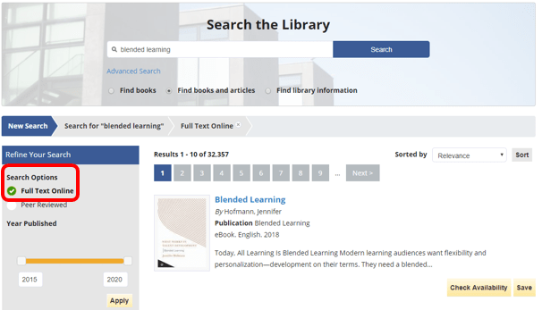 "Library Website search with ""Full Text Online"" option selected"